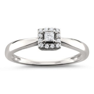 Montebello Jewelry 14k White Gold 1/8ct TDW Princess-cut Diamond Halo Engagement Ring (H-I, I1-I2)