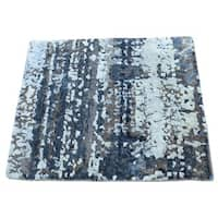 """Shahbanu Rugs Hand-Knotted Wool and Silk Abstract Square Hi and Low Pile Rug (1'10""""x2'0"""")"""