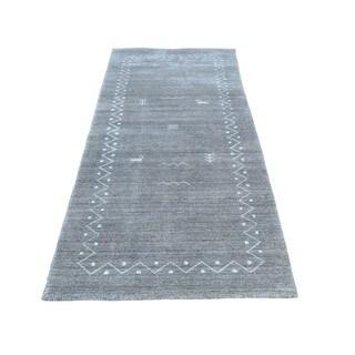 "1800getarug Grey Modern Art Silk Hand-Loomed Gabbeh Oriental Runner Rug (2'5""x6'0"")"