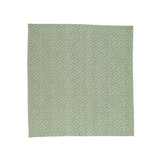 1800GetARug Durie Light Green/Ivory Wool Flatweave Handwoven Reversible Oriental Kilim Rug (8'0 x 8'0)