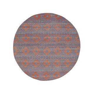 1800GetARug Durie Kilim Red Wool Reversible Flatweave Handwoven Round Area Rug (7'9 x 7'9)