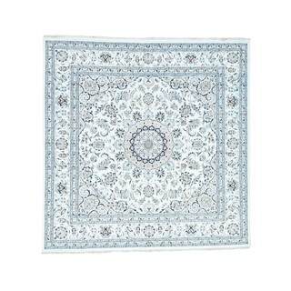 1800GetARug Ivory Wool/Silk Square Hand-knotted Rug (9' x 9'1)