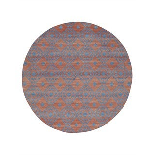 """Shahbanu Rugs Durie Kilim Flat Weave Hand-Woven Reversible Round Rug (5'9""""x5'10"""")"""