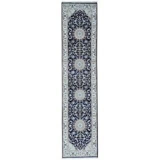 1800GetARug Blue Wool/Silk Hand-knotted Runner Rug (2'8 x 11'8)