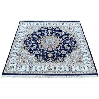 "Shahbanu Rugs 300 Kpsi Wool and Silk Hand-Knotted Navy Blue Nain Square Rug (3'8""x3'10"")"