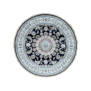 1800GetARug Hand-knotted 300 KPSI Navy Blue Wool and Silk Round Nain Rug (4'1 x 4'1)