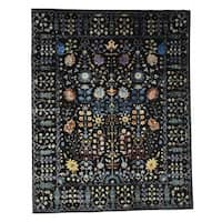 "Shahbanu Rugs Arts and Crafts Design Wool and Silk Hand-Knotted Oriental Rug (8'10""x12'0"")"