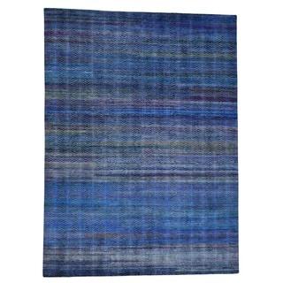 1800GetARug Grass Design Sari Silk/Oxidized Wool Oriental Rug (9' x 12'2)