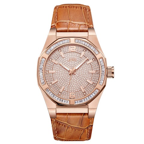 JBW Men's Apollo.10 ctw 18K Rose Gold-Plated Stainless Steel Diamond Watch - brown