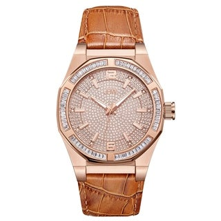JBW Men's J6350D Apollo 0.10 ctw 18K Rose Gold-Plated Stainless Steel Diamond Watch - brown