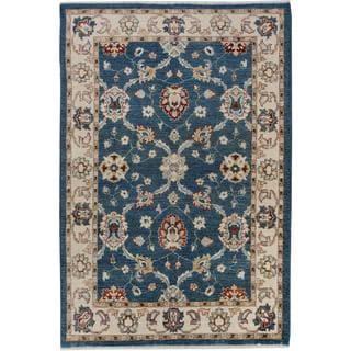 Arshs Kafkaz Peshawar Lincoln Blue/Ivory Wool Hand-knotted Rug (4'0 x 5'10)