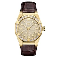 JBW Men's  Apollo.10 ctw 18k gold-plated stainless-steel Diamond Watch - brown