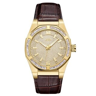 JBW Men's J6350B Apollo 0.10 ctw 18k gold-plated stainless-steel Diamond Watch - Brown