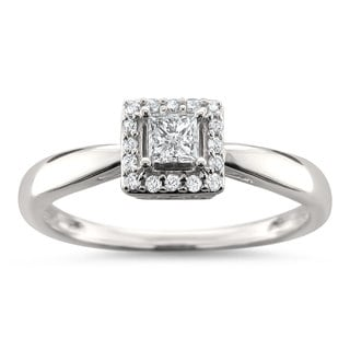 Montebello Jewelry 14k White Gold 1/4ct TDW Princess-cut Diamond Halo Engagement Ring (H-I, I1-I2)