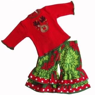AnnLoren Red Christmas Rudolf Reindeer Outfit Fits 18-inch Dolls (Option: Red)