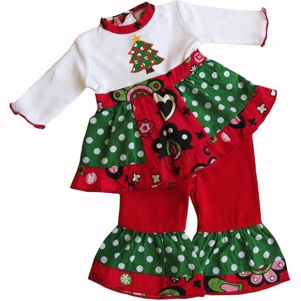AnnLoren Panel Christmas Tree Dress Outfit Fits 18-inch Dolls
