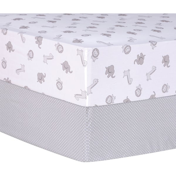 Trend Lab Grey Safari and Dot 2 Pack Fitted Crib Sheets