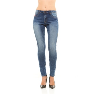 Red Jeans Women's Mid Rise Denim Pants with Light Paint Splatter Design and Classis Pocket Embroidery