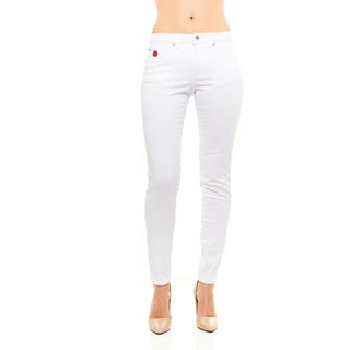 Red Jeans Women's Casual High Rise Denim Pants with Classic Bandage Emblem