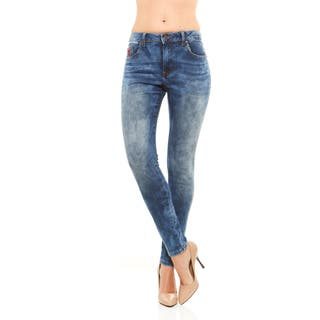 Red Jeans Women's Seamless Soft Denim Mid-Rise Jeans with Faded Floral Pattern|https://ak1.ostkcdn.com/images/products/16702422/P23019137.jpg?impolicy=medium