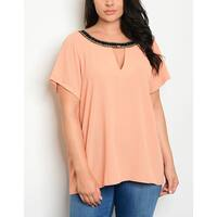 JED Women's Plus Size Jeweled Neck Peach Short Sleeve Top