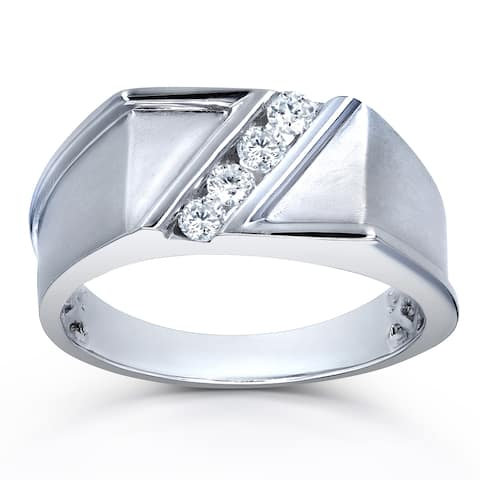 Annello by Kobelli 10k White Gold 1/4ct TDW Diagonal Tension-set Diamond Men's Ring (H-I, I2)