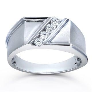 Annello by Kobelli 10k White Gold 1/4ct TDW Diagonal Tension-set Diamond Men's Ring (H-I, I2)