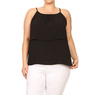 Women's Plus Size Sleeveless Solid Top with Back Lace Yoke Detail