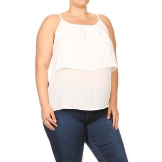 Women's Plus Size Sleeveless White Chiffon Tiered Top