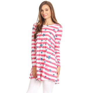 Women's Stars and Striped Pattern Tunic Top