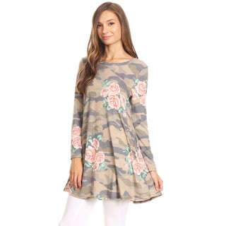 Women's Camouflage Floral Pattern Tunic