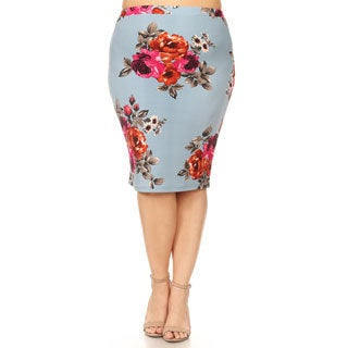 Women's Plus Size Floral Pattern Pencil Skirt
