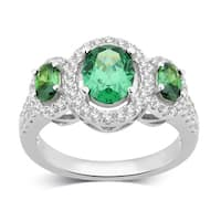 Divina Sterling Silver Created Emerald and White Sapphire Three Stone Oval Frame Ring.