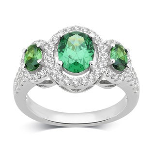Divina Sterling Silver Created Emerald and White Sapphire Three Stone Oval Frame Ring. (3 options available)