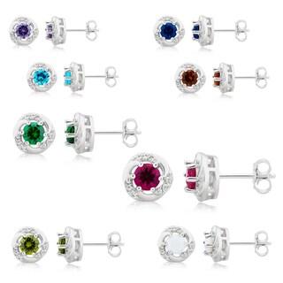 Divina Sterling Silver Gemstone Swirl Stud Earrings.