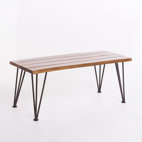 Shop Geania Industrial Acacia Wood Rectangle Coffee Table