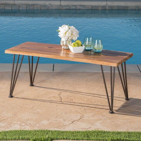 Zion Outdoor Industrial Acacia Wood Rectangle Coffee Table by Christopher Knight Home