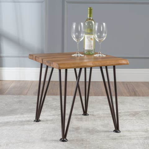 Geania Acacia Wood Industrial Side Table by Christopher Knight Home