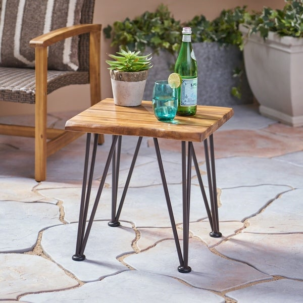 Zion Outdoor Acacia Wood Industrial Side Table by Christopher Knight Home. Opens flyout.