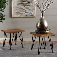 Zion Outdoor Acacia Wood Industrial Side Table (Set of 2) by Christopher Knight Home