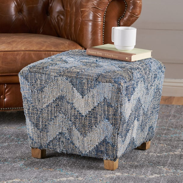 Shop Robson Chevron Pattern Fabric Square Ottoman Cube By