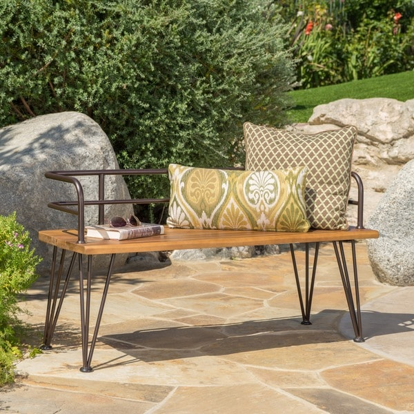 Zion Outdoor Industrial Acacia Wood Bench by Christopher Knight Home