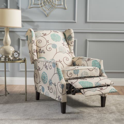 Wescott Wingback Floral Recliner Club Chair by Christopher Knight Home