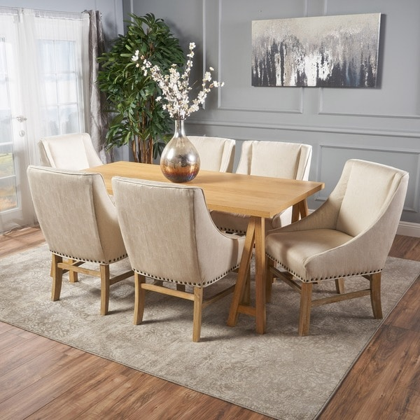 Sabine Farmhouse 7 Piece Rectangular Wood Dining Set By Christopher Knight Home