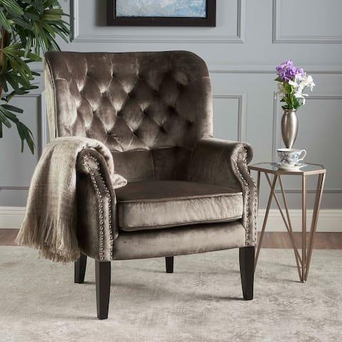 Tomlin Velvet Club Chair by Christopher Knight Home
