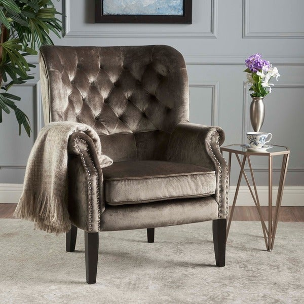 Tomlin Velvet Club Chair by Christopher Knight Home. Opens flyout.
