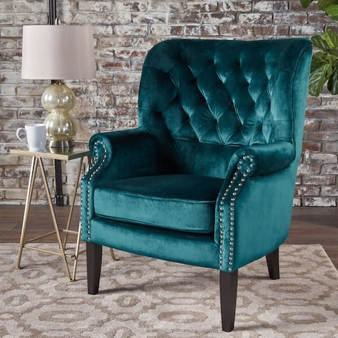 Tomlin Modern Glam Velvet Club Chair with Nailhead Trim by Christopher Knight Home