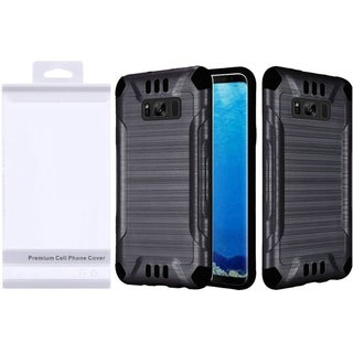 Insten Black Slim Armor Hard Snap-on Dual Layer Hybrid Brushed Case Cover For Samsung Galaxy S8