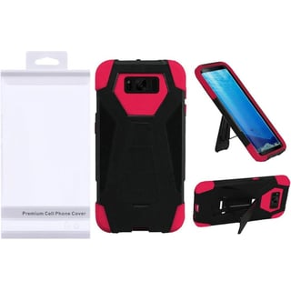 Insten Black/Hot Pink T-Stand Hard PC/ Silicone Dual Layer Hybrid Case Cover with Stand For Samsung Galaxy S8