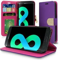 Insten Purple Leather Case Cover Lanyard with Stand/Wallet Flap Pouch/Diamond For Samsung Galaxy S8 Plus S8+